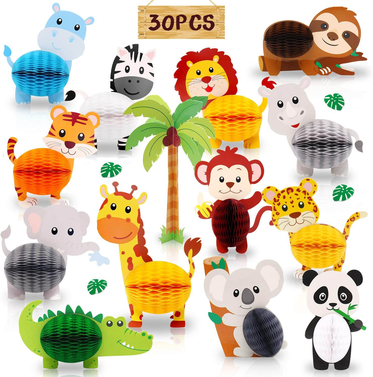 30PCS Jungle Safari Animals Honeycomb Centerpieces 3D Table Decorations for Jungle Safari Birthday Baby Shower Party Decorations Supplies