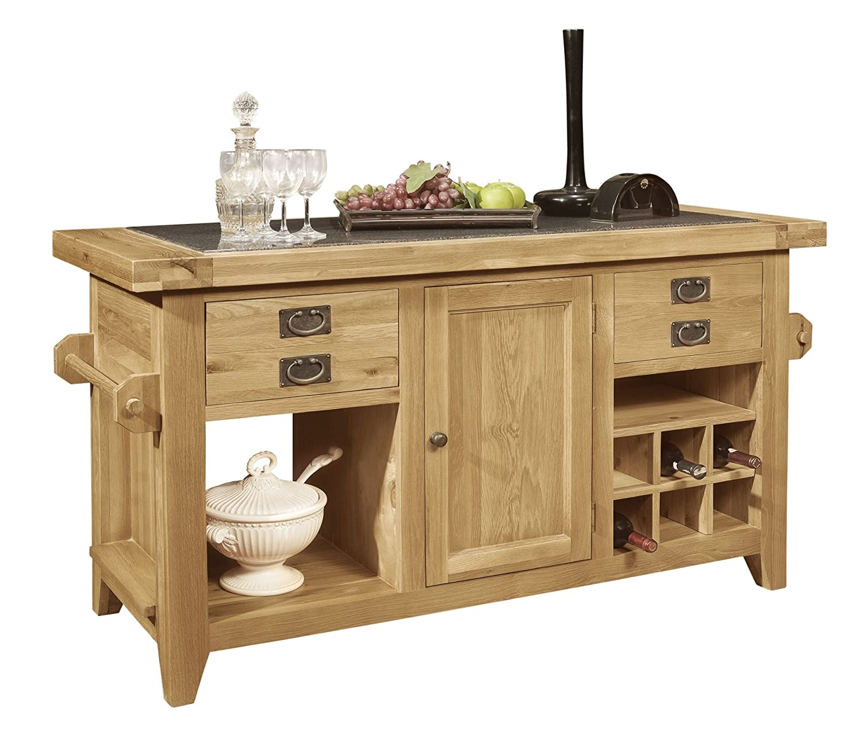 Panama Solid Rustic Oak Furniture Kitchen Island Unit
