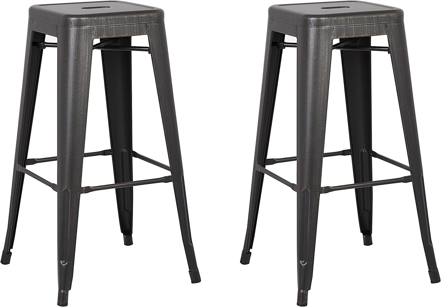 Christies Home Living Backless Modern Light Weight Industrial Contemporary Rustic Vintage Costal Metal Bar Stools Without Back and 4 Leg Design (Set of 2) (30