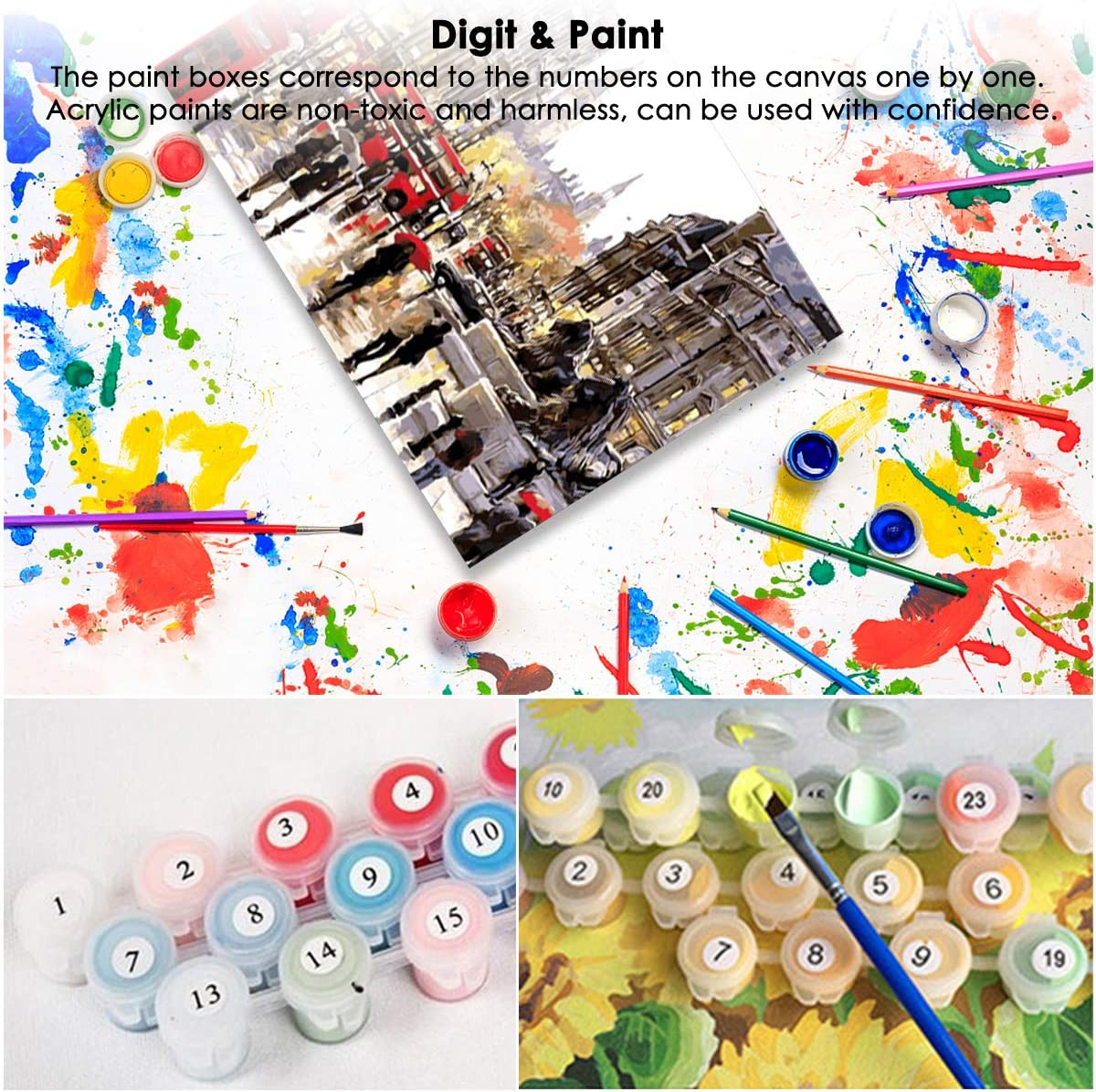 16 DIY Painting by Numbers Kit Canvas Oil Paint for Adults Kids ...