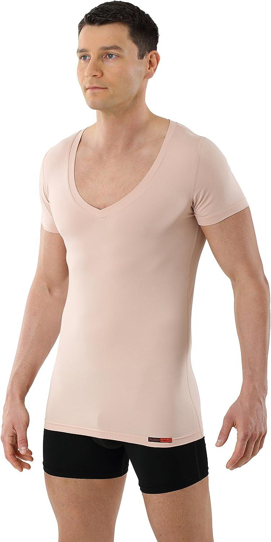 ALBERT KREUZ Camiseta Interior Invisible para Hombre de Tejido técnico algodón-Coolmax® – antisudor, Piel Seca – de Manga Corta y con Cuello de Pico Profundo – Color ...