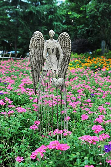 Yu0026K Decor Antiqued Metal Garden Angel Statues, 32u0026quot; Height Excellent  For Christmas ...