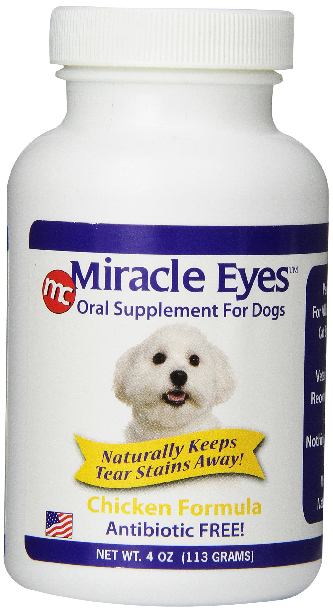 Miracle Care Tear Stain Reducer Oral Supplement for Dogs and Cats Chicken 4 oz