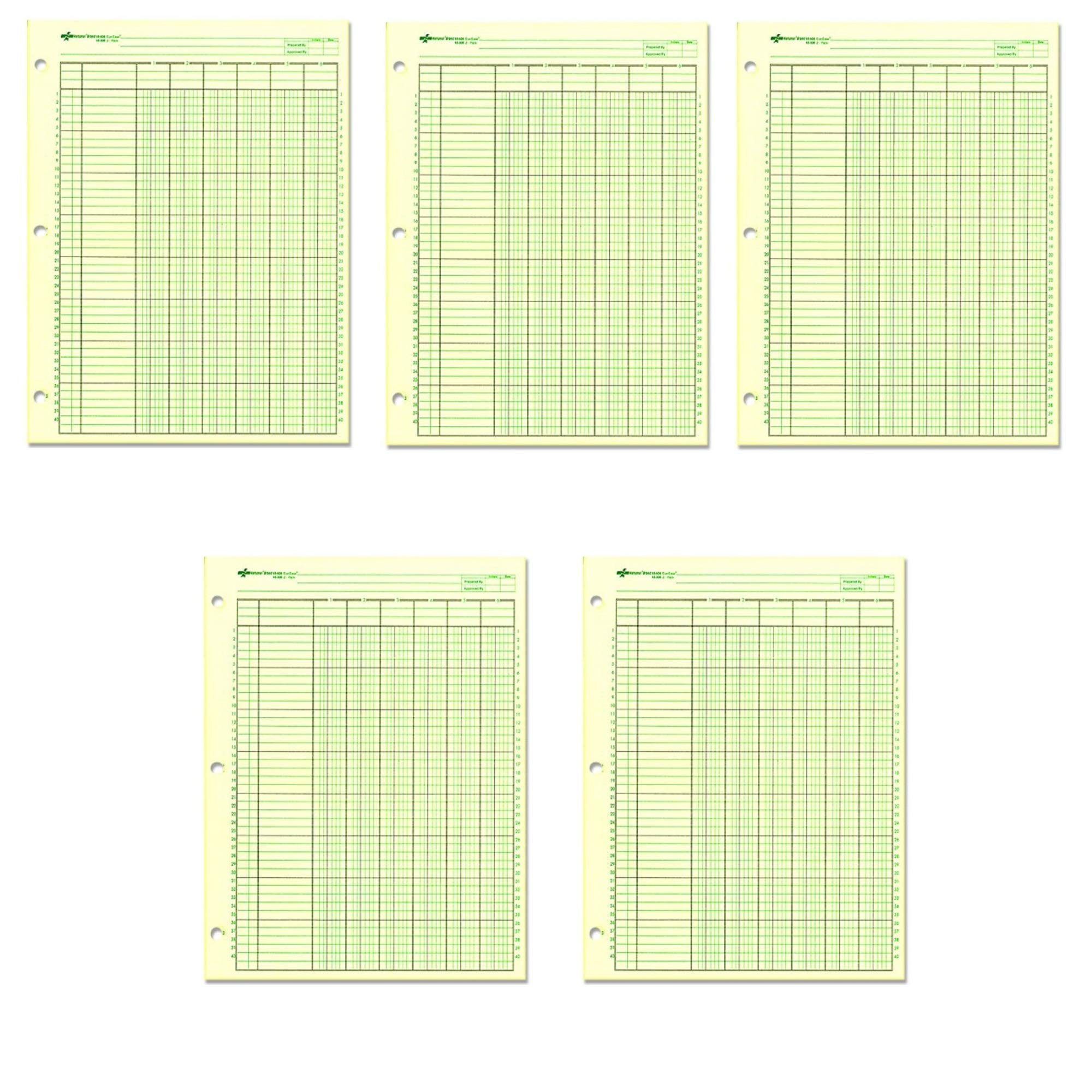 NATIONAL Analysis Pad, 6 Columns, Green Paper, 11 x 8.5'', 50 Sheets (45606), 5 Pack by NATIONAL