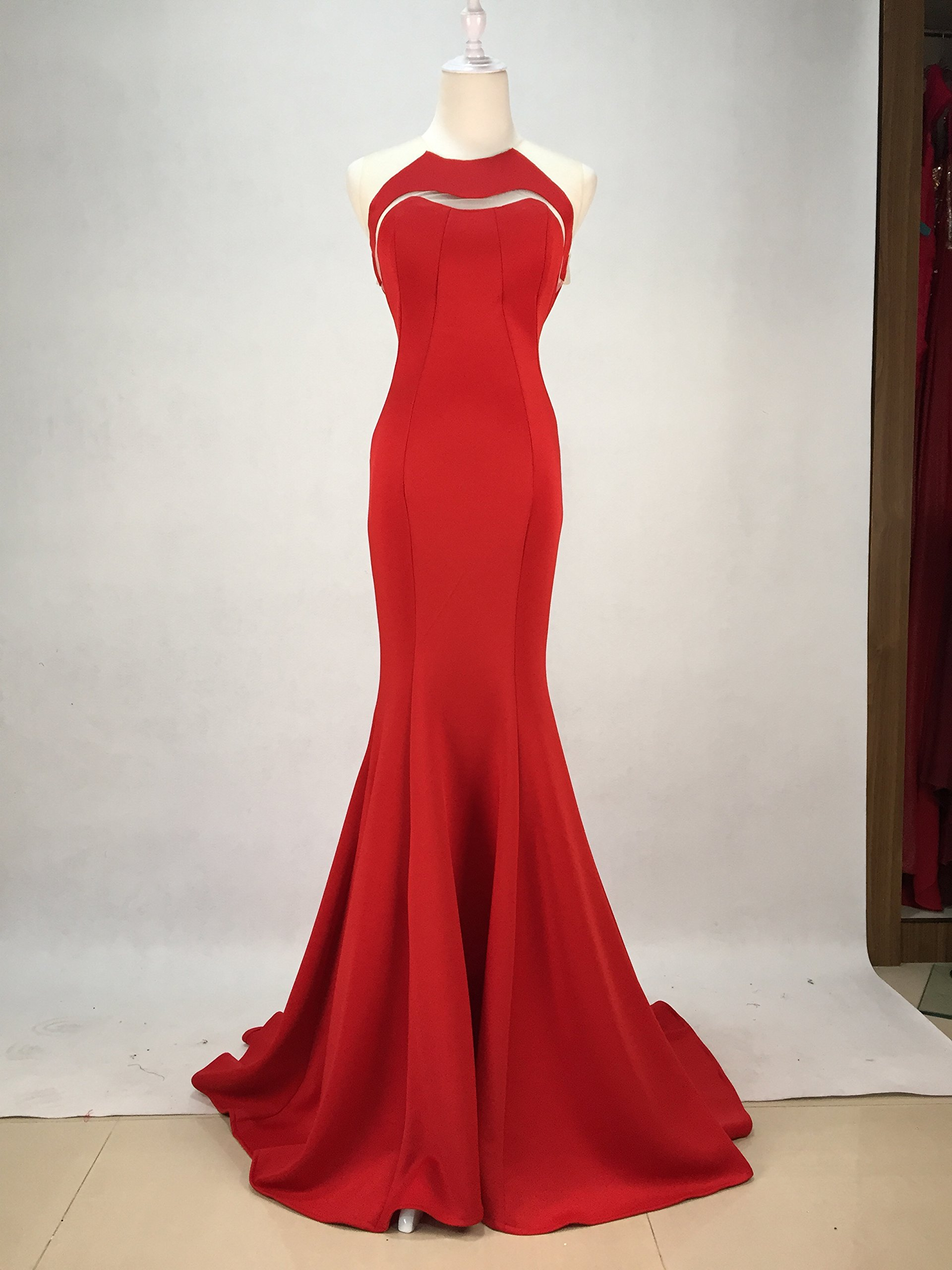 Gypsophila Women Fishtail Evening Dress Prom Gown 2016 (4, Red)