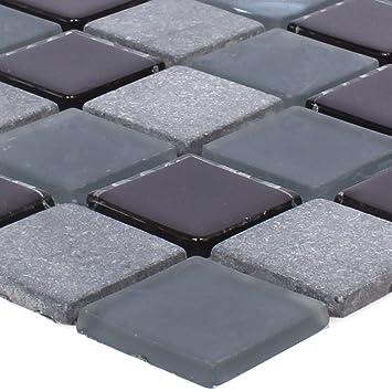 Mosaikfliesen Marmor Glas Mix Kobra Schwarz Grau 25 Wandfliesen
