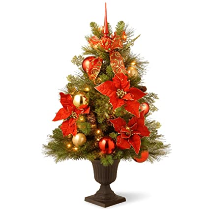 Potted Christmas Tree.Amazon Com 3 Pre Lit Potted Decorative Holidays Entrance