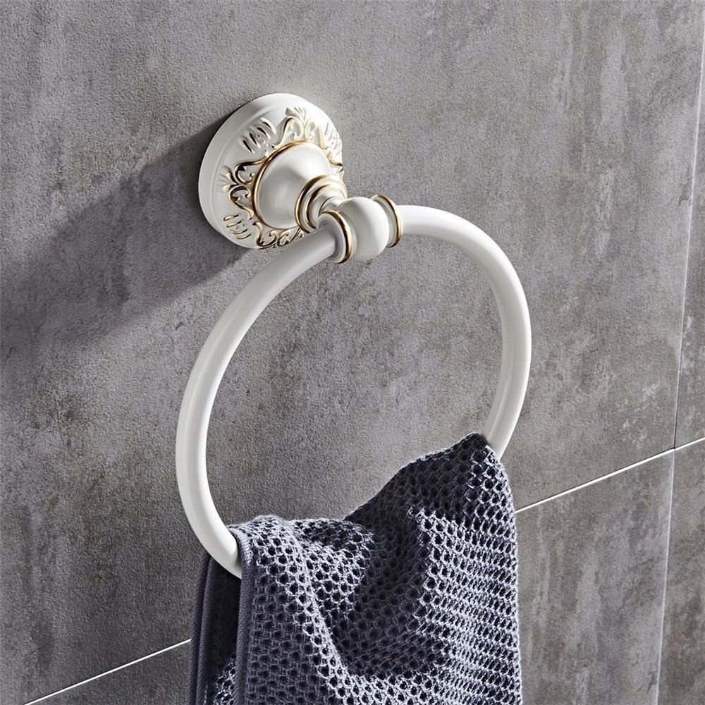 Vintage white aluminum wall-mounted bathroom, towel ring