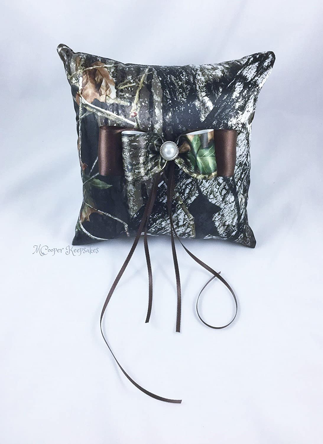 Mossy Oak Satin Camo & Brown Satin Ring Bearer's Pillow