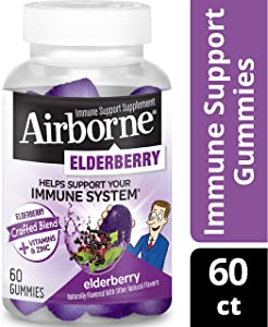 Elderberry + Vitamins & Zinc Crafted Blend Gummies, Airborne (60 Count in a Bottle), Gluten-Free Immune Support Supplement with Vitamins C, D & E That Has No Artificial Sweeteners & No Color Added