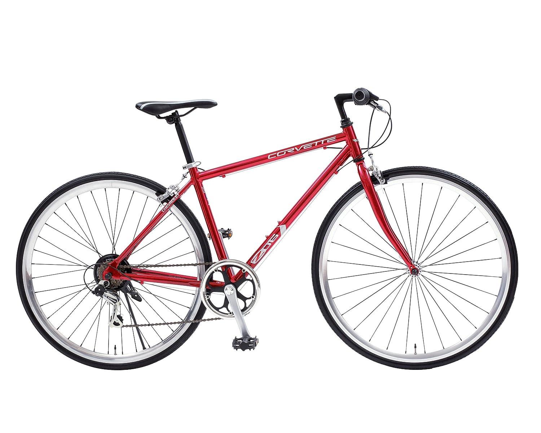 CHEVROLET(シボレー) CORVETTE(コルベット) AL-CRB7006MD 軽量アルミフレーム クロスバイク 700c SHIMANO6段変速機搭載 マッハカラー ハイポリッシュリム 前輪ラジアル組みエアロスポークの格好良さ 一味違うアルミクロスバイク 84104 B074MVR6XQ レッド レッド