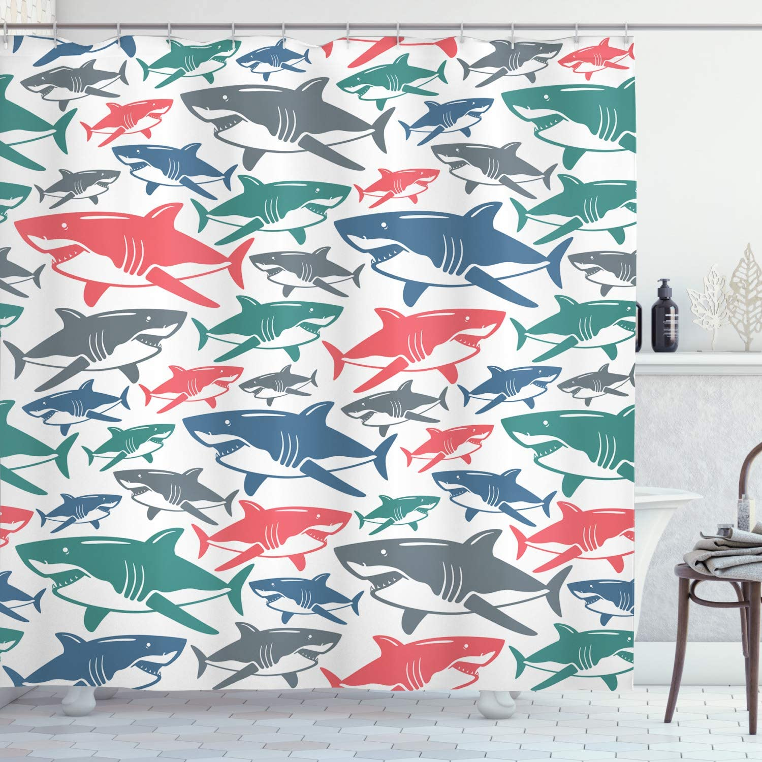 """Ambesonne Shark Shower Curtain, Mix of Colorful Bull Shark Family Pattern Masters Survival Predators Dangerous Nature, Cloth Fabric Bathroom Decor Set with Hooks, 70"""" Long, White Coral"""