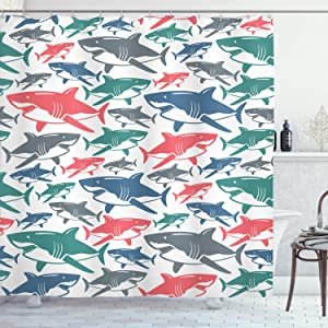 """Ambesonne Shark Shower Curtain, Mix of Colorful Bull Shark Family Pattern Masters Survival Predators Dangerous Nature, Cloth Fabric Bathroom Decor Set with Hooks, 84"""" Long Extra, White Coral"""