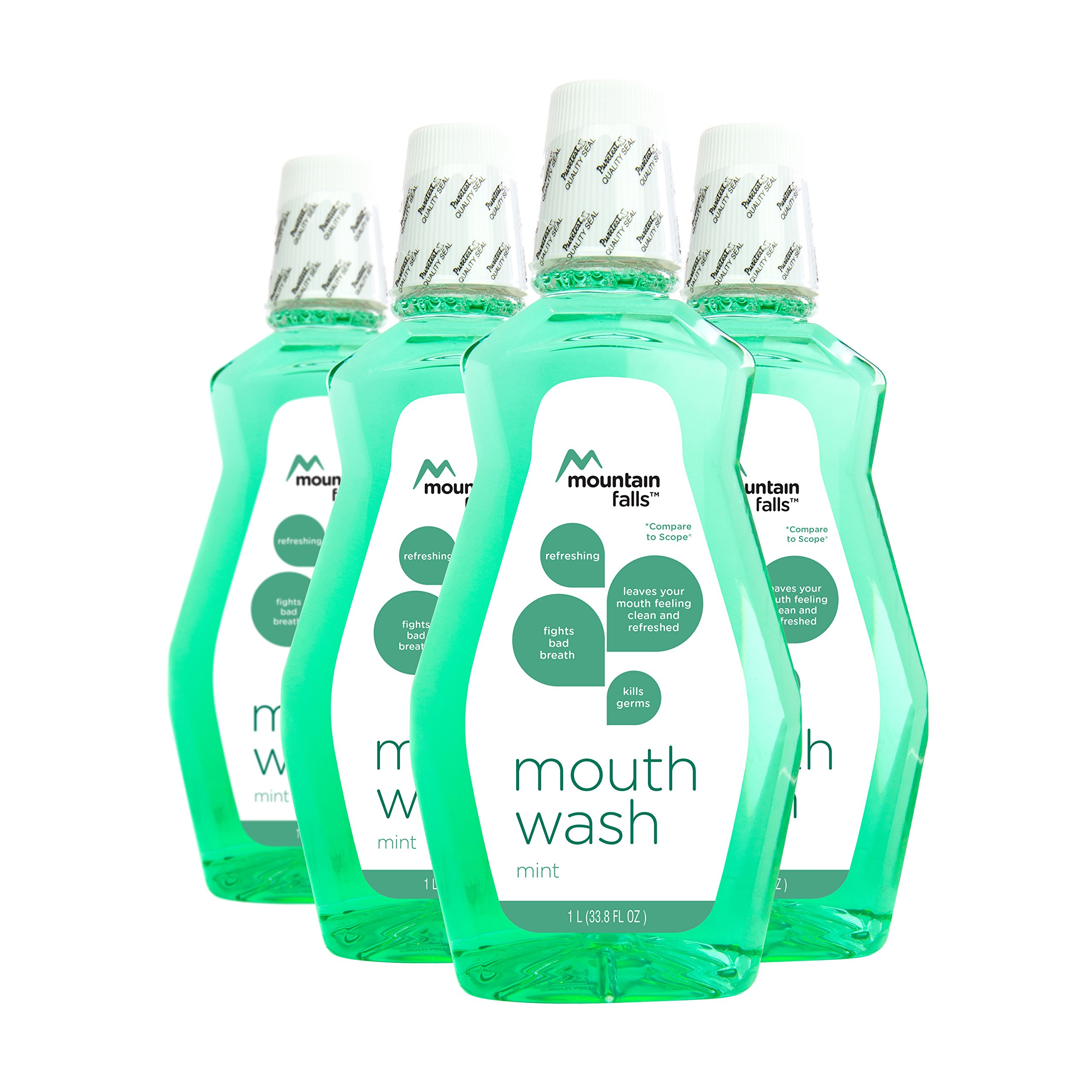 Mountain Falls Mouthwash, Mint, Compare to Scope, 33.79 Fluid Ounce (Pack of 4)