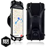 BeePro Black Silicone Bike Phone Holder for any Smartphone Including iPhone & Samsung. The Universal Bike Phone Holder is Light Weight and Weather Proof, for use on Road Bikes, Mountain Bikes, Scooters & Motorbikes