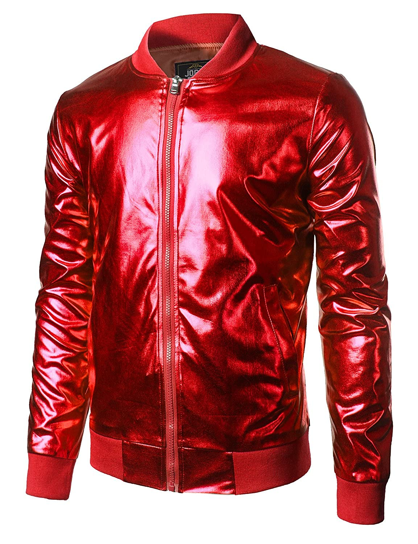 JOGAL Mens Metallic Nightclub Styles Zip Up Varsity Baseball Bomber Jacket