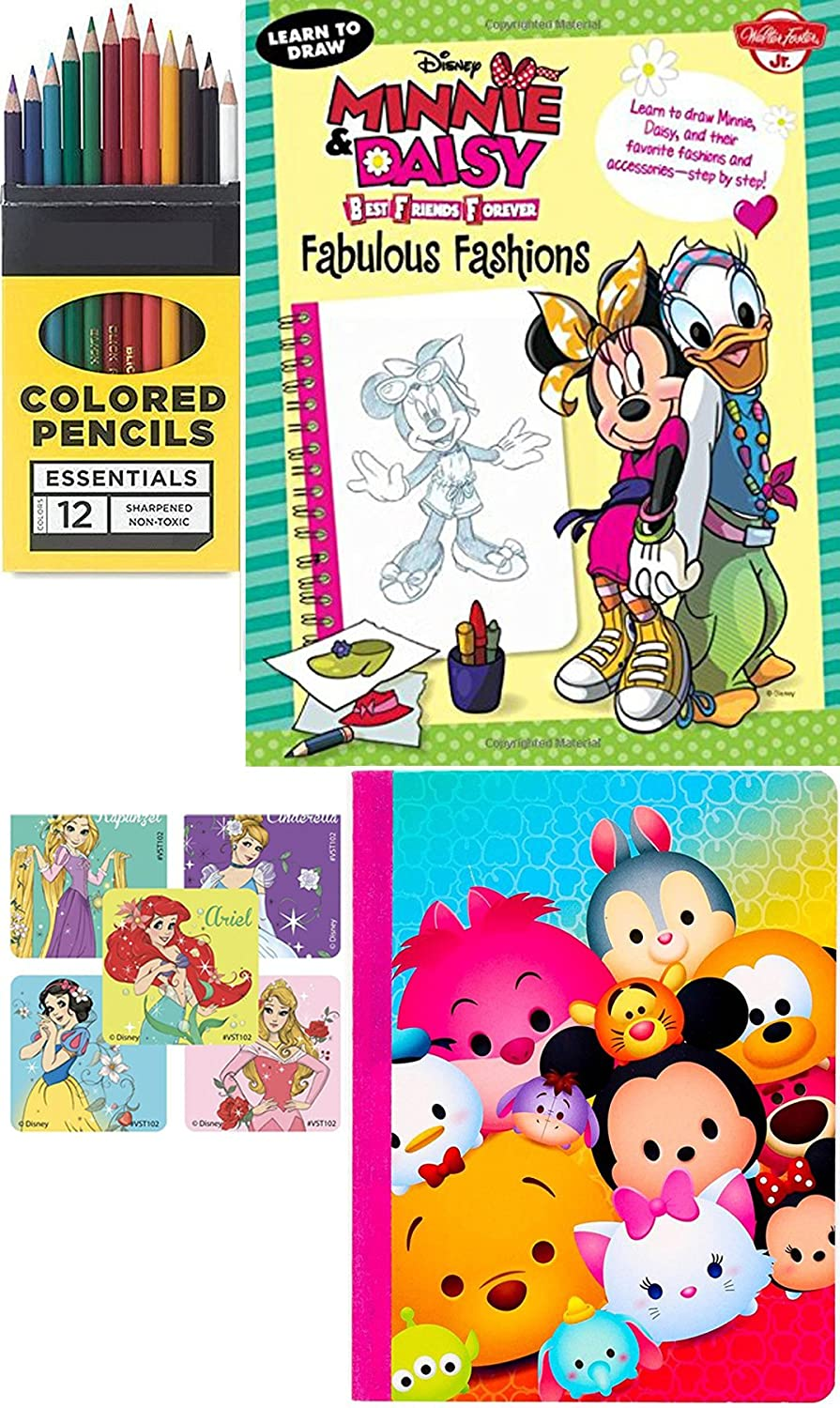 Colored Pencil Pack over 200 Images Princess characters /& Stickers WD AYB Disney Minnie /& Daisy Fabulous Fashions Art Drawing Book Set /& Tsum Tsum Notebook