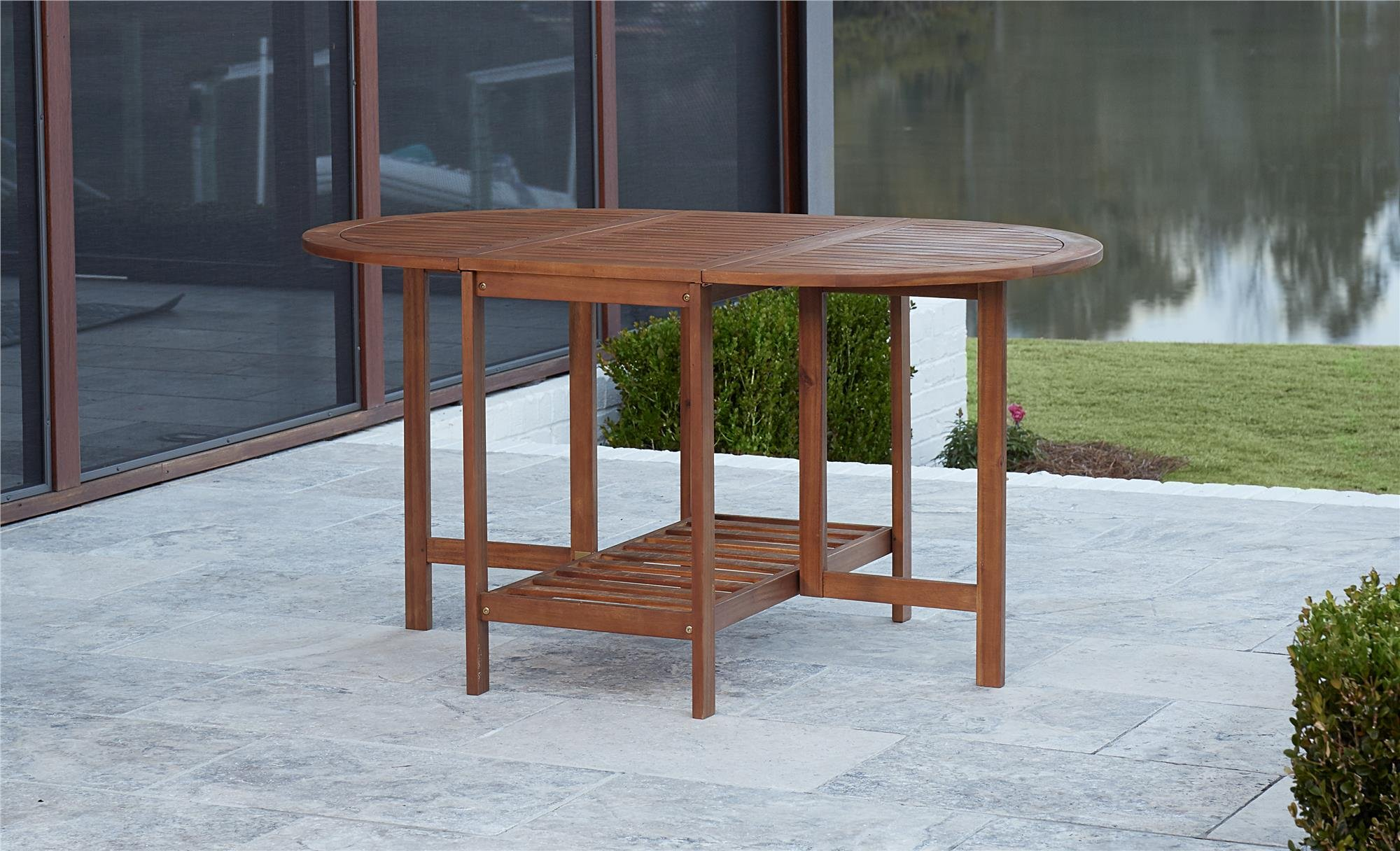 COSCO Outdoor Living Acacia Wood Folding Drop Leaf Patio Dining Table with Chair Storage, Brown