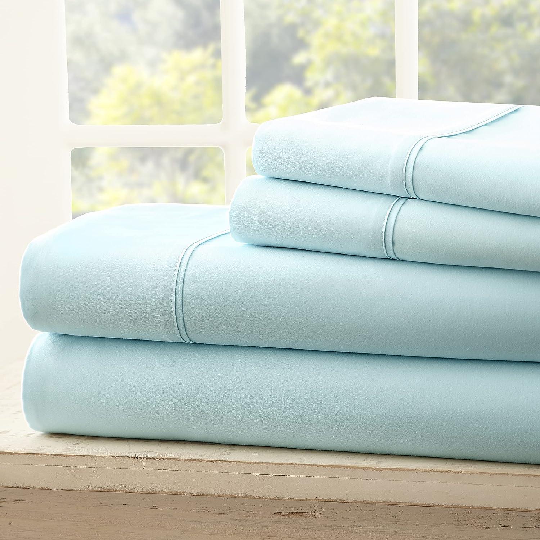 ienjoy Home Hotel Collection Luxury Soft Brushed Bed Sheet Set, Hypoallergenic, Deep Pocket, Queen, Aqua