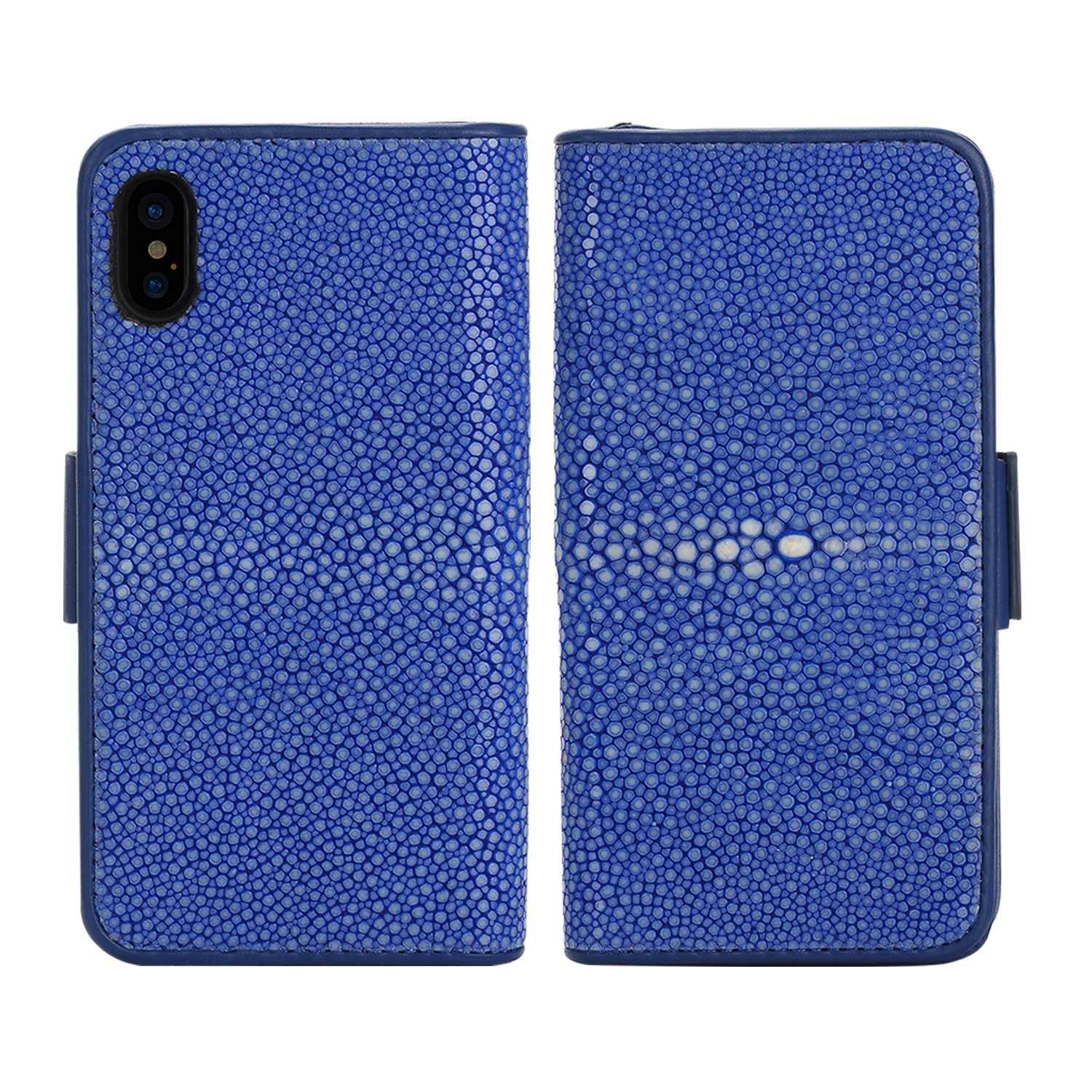 Luxury Wallet Cover For iPhone X (5,8)'' - Hand Made from Genuine Stingray Fish Skin, Premium Case by Trop Saint - Blue