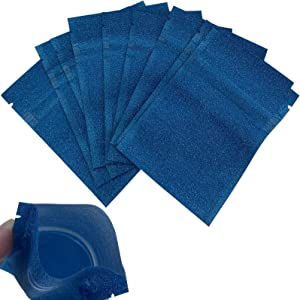 Luckycivia 100 PACK Sanded Texture Resealable Clear Ziplock Mylar Bags Smell Proof Pouch Aluminum Foil Zip Lock Bulk Food Storage Bag, Plastic Aluminum Material, 3x4 inch (Blue)