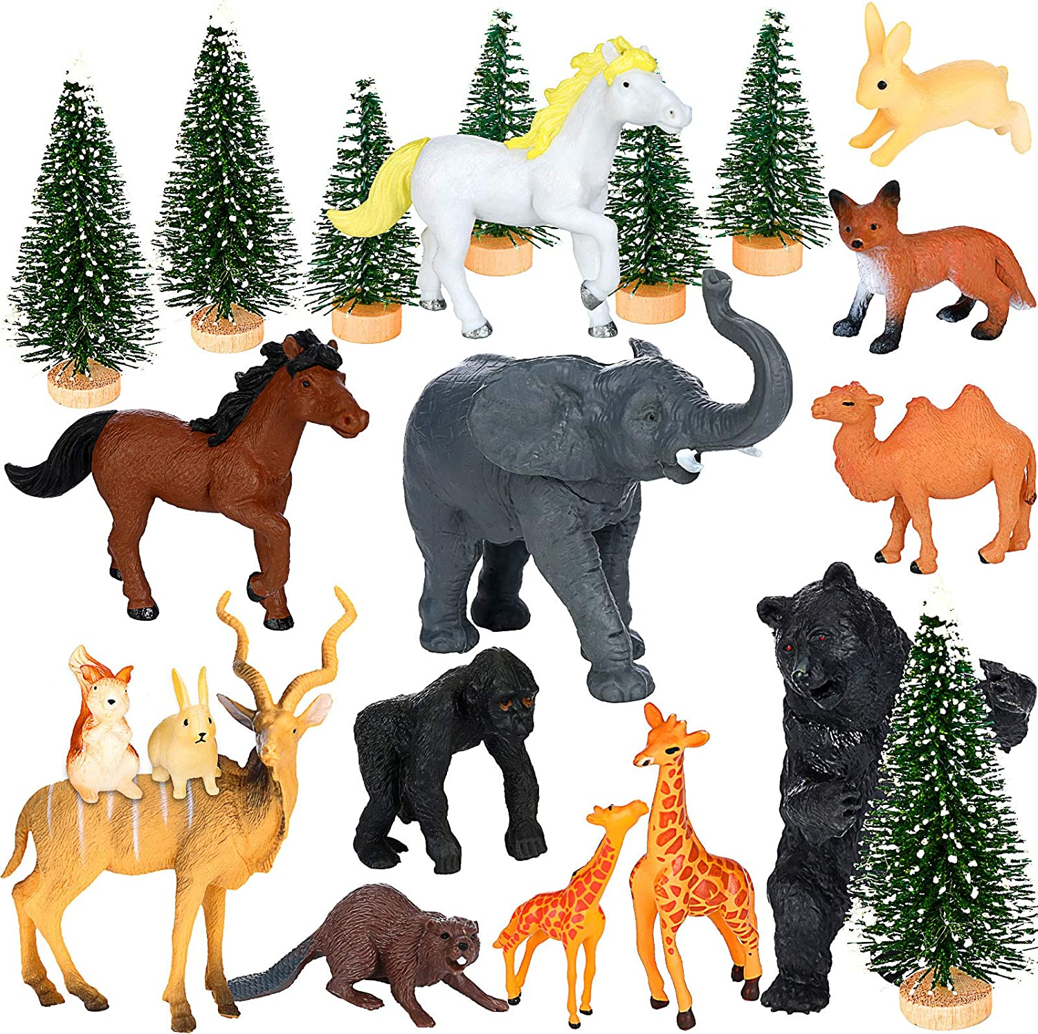 20 Pieces Woodland Animals Figures Miniature Wild Forest Animal Figurines Realistic Woodland Creature Figurine Toys Set Includes 14 Pieces Animals and 6 Piece Trees for Birthday Christmas Party