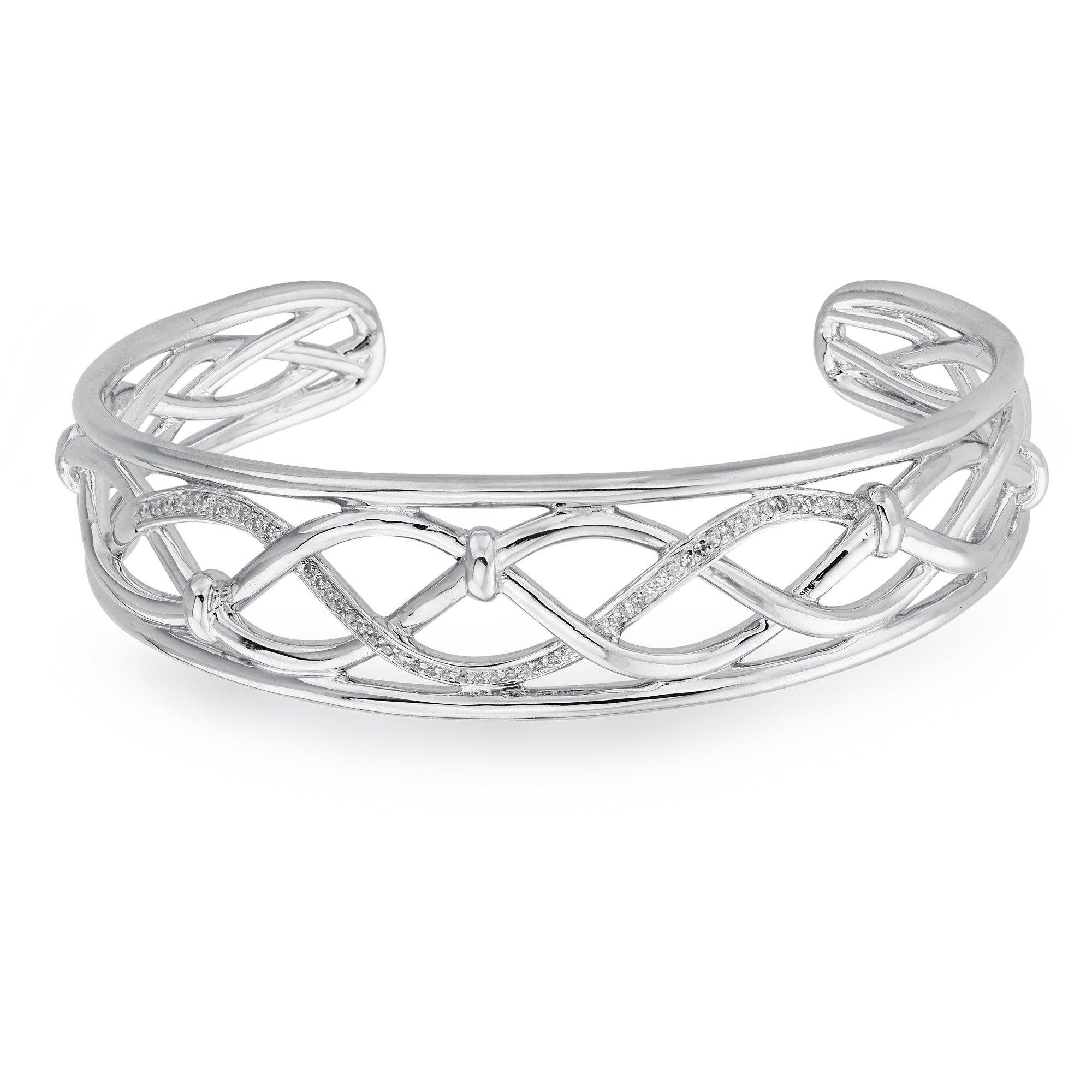 Diamond Cuff Bracelet in Sterling Silver (0.20 carats, H-I, I2 I3)