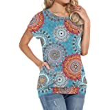 YSYOKOW Womens Summer Casual T Shirts Short Sleeve Tunic Loose Tops with Pockets