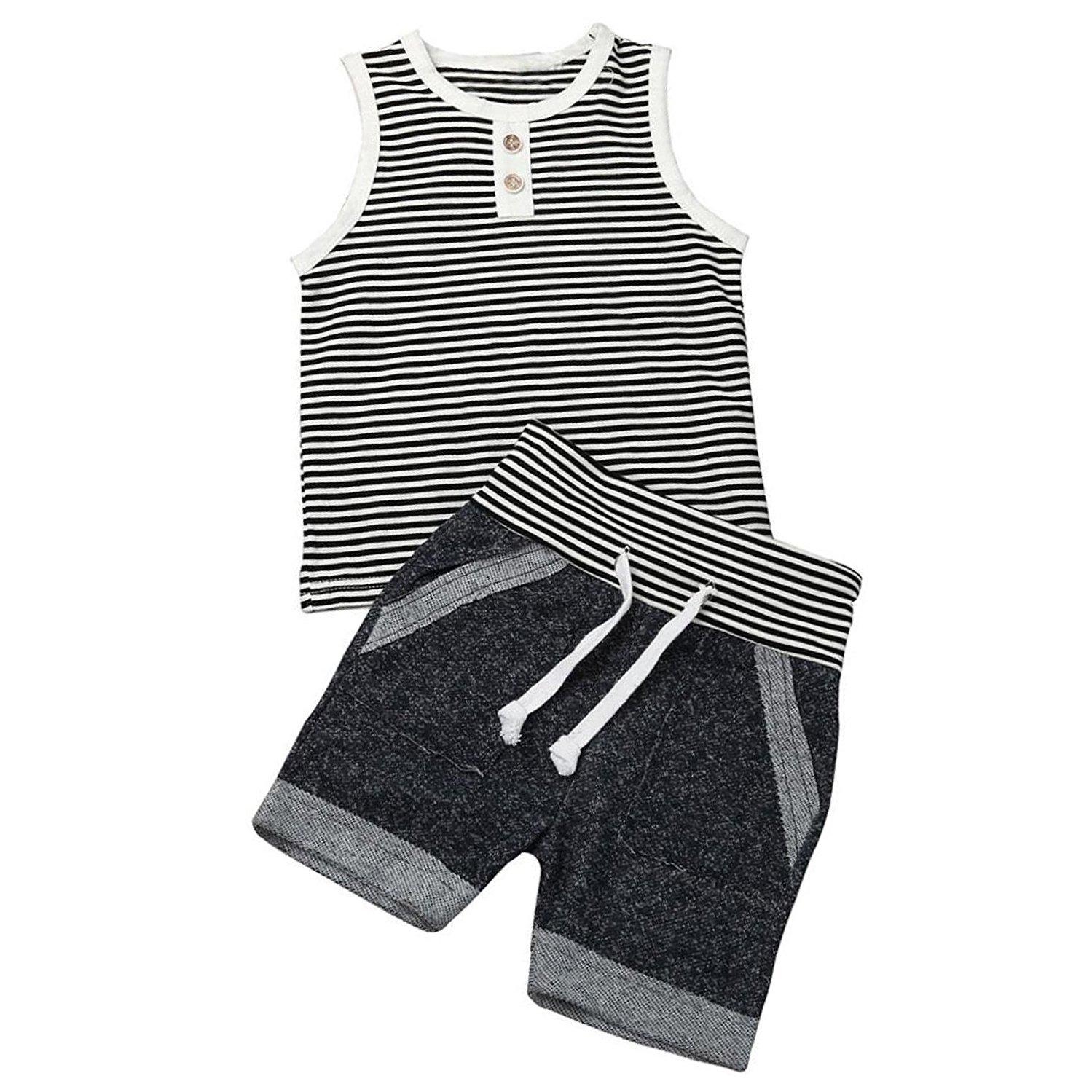 INHoney Baby Boy Girl Sleeveless Stripe T-Shirt Vest + Rope Shorts (0-6 Months, Gray and White)