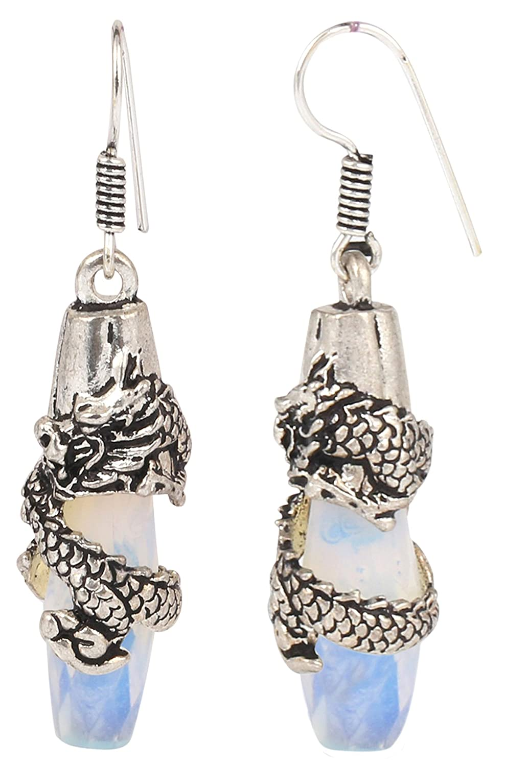 Sansar India Silver Plated Dragon Moonstone Drop Bohemian Indian Earrings Jewelry for Girls and Women