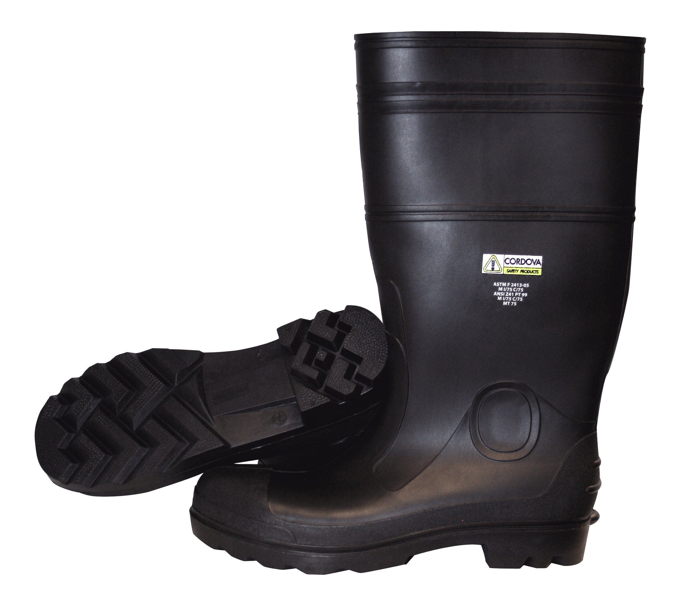 Cordova Safety Products PB2312 Unlined PVC Boots with Black PVC Soles, Size 12, Black