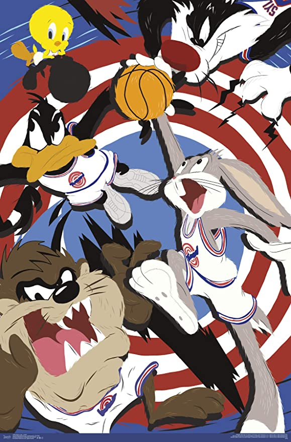 Trends International Space Jam Collage Wall Poster 22.375 x 34 Black Framed Version