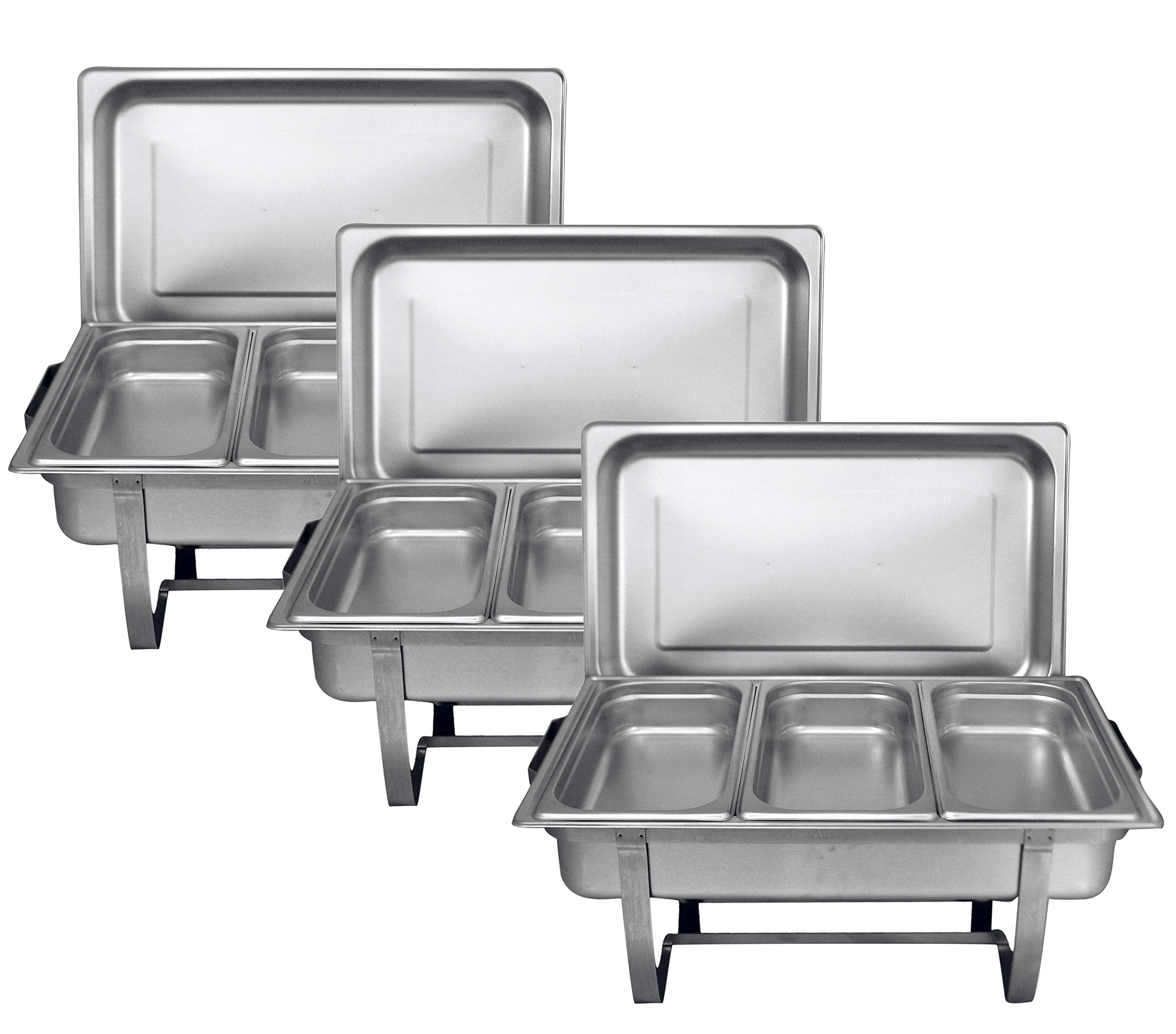 Tiger Chef 8 Quart Full Size Stainless Steel Chafer 3 Third Size Chafing Food Pans and Cool-Touch Plastic on top (3, Full Size with 1/3rd Inserts) Catering Supplies Buffet