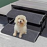 Aucuda RV Step Covers Wrap Around Camper RV Step Rug Step Carpet, Set of 2, Gray, 18 Inch Width