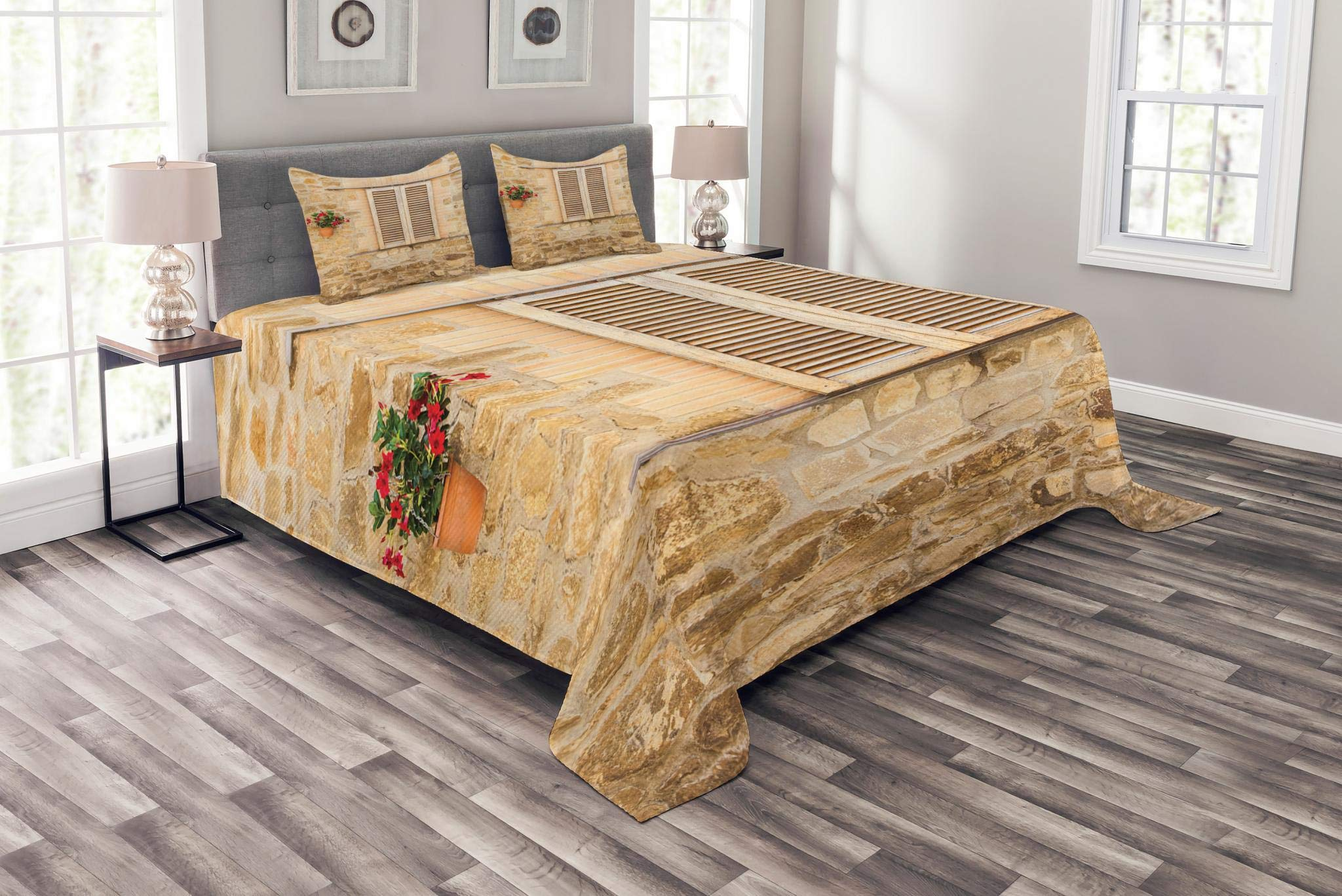 Lunarable Tuscan Bedspread Set King Size, Rustic Stone House and Window Shutters Flower Pot on Wall Italian Country Home Theme, Decorative Quilted 3 Piece Coverlet Set with 2 Pillow Shams, Beige