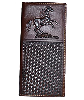 87689d05ba0f Amazon.com: men embossed horse rider cowboy coffee brown long wallet ...