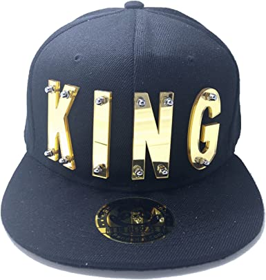 King And Queen 3D Flat Peak Snapback Cap Original Customised Gold Black
