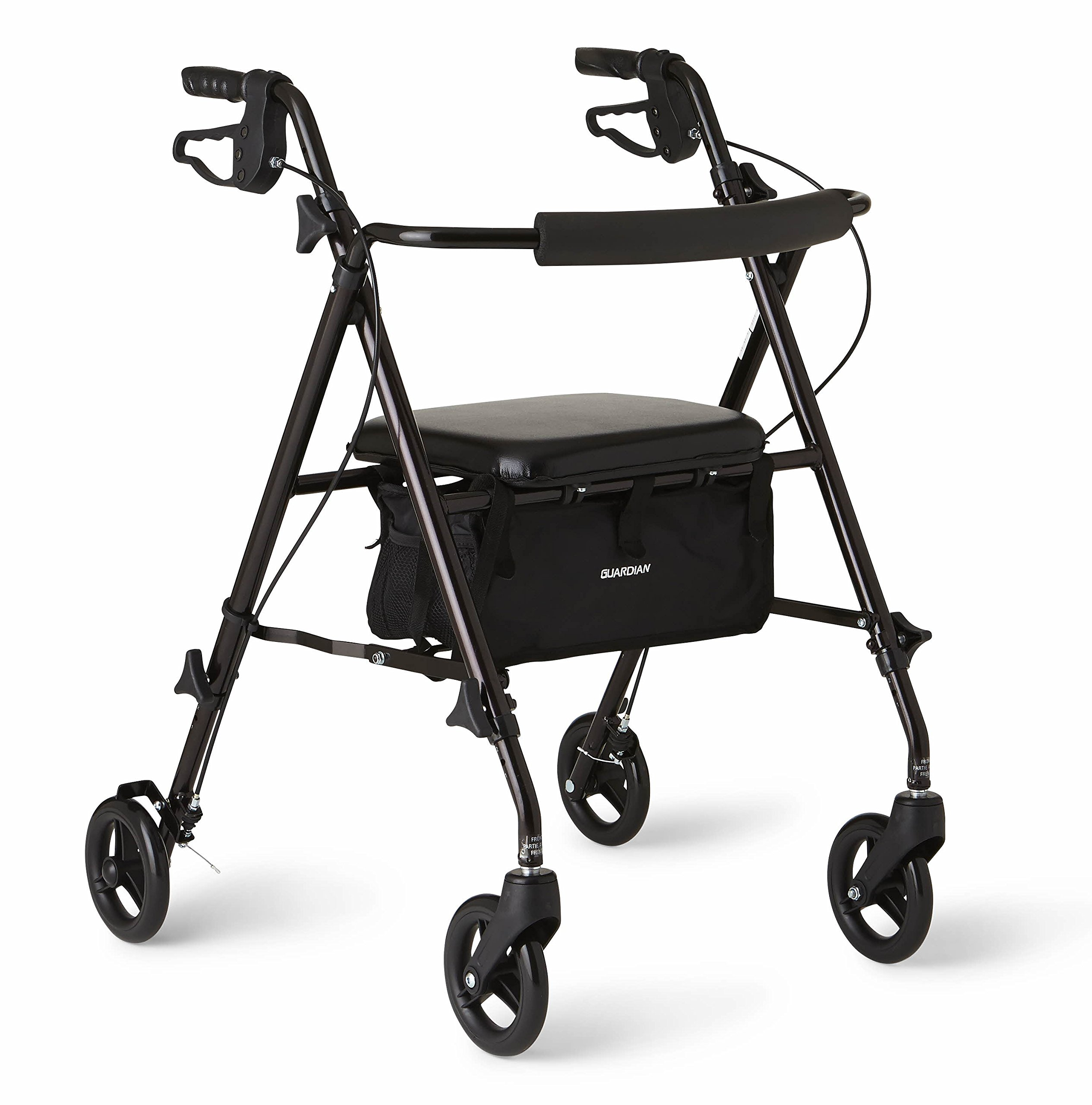 Medline Freedom Lightweight Folding Aluminum Mobility Rollator Walker with 6-inch Wheels, Adjustable Seat and Arms, Black by Medline