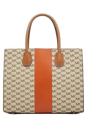 0fe83c4edd1bc MICHAEL Michael Kors Women s Mercer Stripe Heritage Tote Bag Orange One  Size  Amazon.ca  Shoes   Handbags