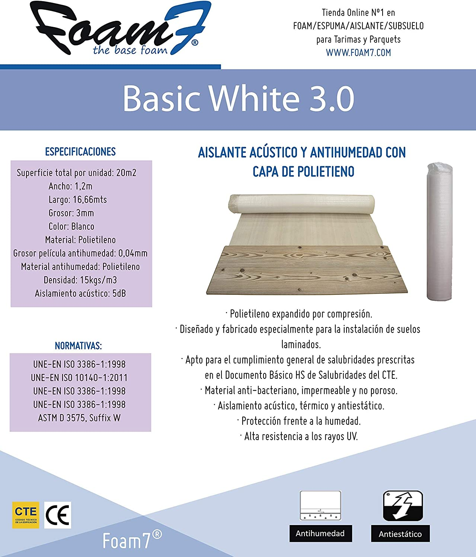 100/% Ecol/ógico 18kg//m3 PE Densidad Base Aislante BASIC WHITE 3.0 de 3mm Super Ventas Manta Multiuso Incorpora capa antihumedad 20m2 Para Tarima y Parquet ; Regula Desniveles
