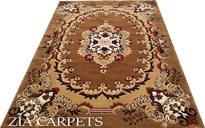 Zia Carpets Persian Floral Carpet For Living Room & Hall Carpet With 0.5 Inch Pile Hight 6X8 Feet (180X240cm) Color Gold Carpets at amazon