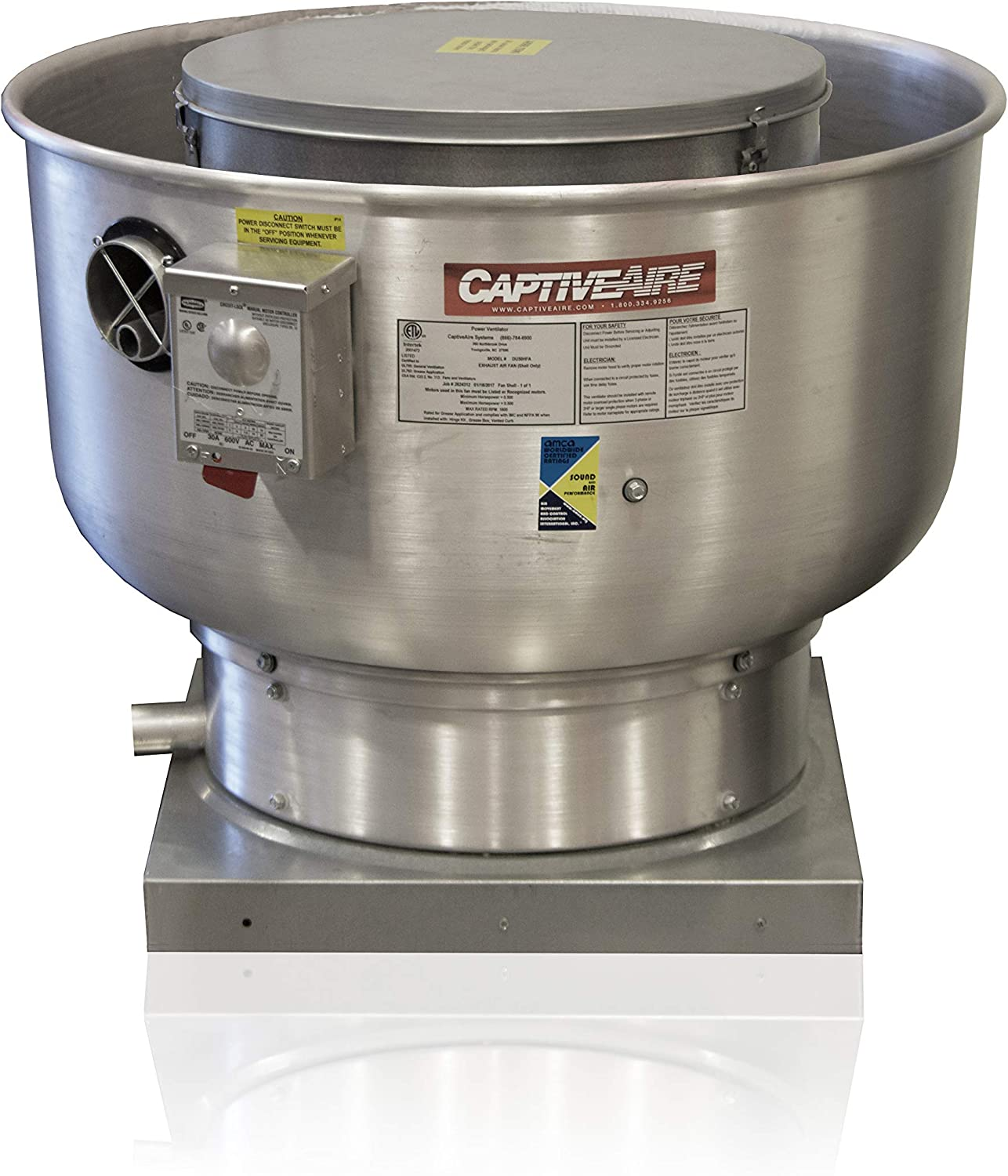 Low Profile Grease Rated Food Truck Exhaust Fan- High Speed Direct Drive Centrifugal Upblast Exhaust Fan with speed control- 19