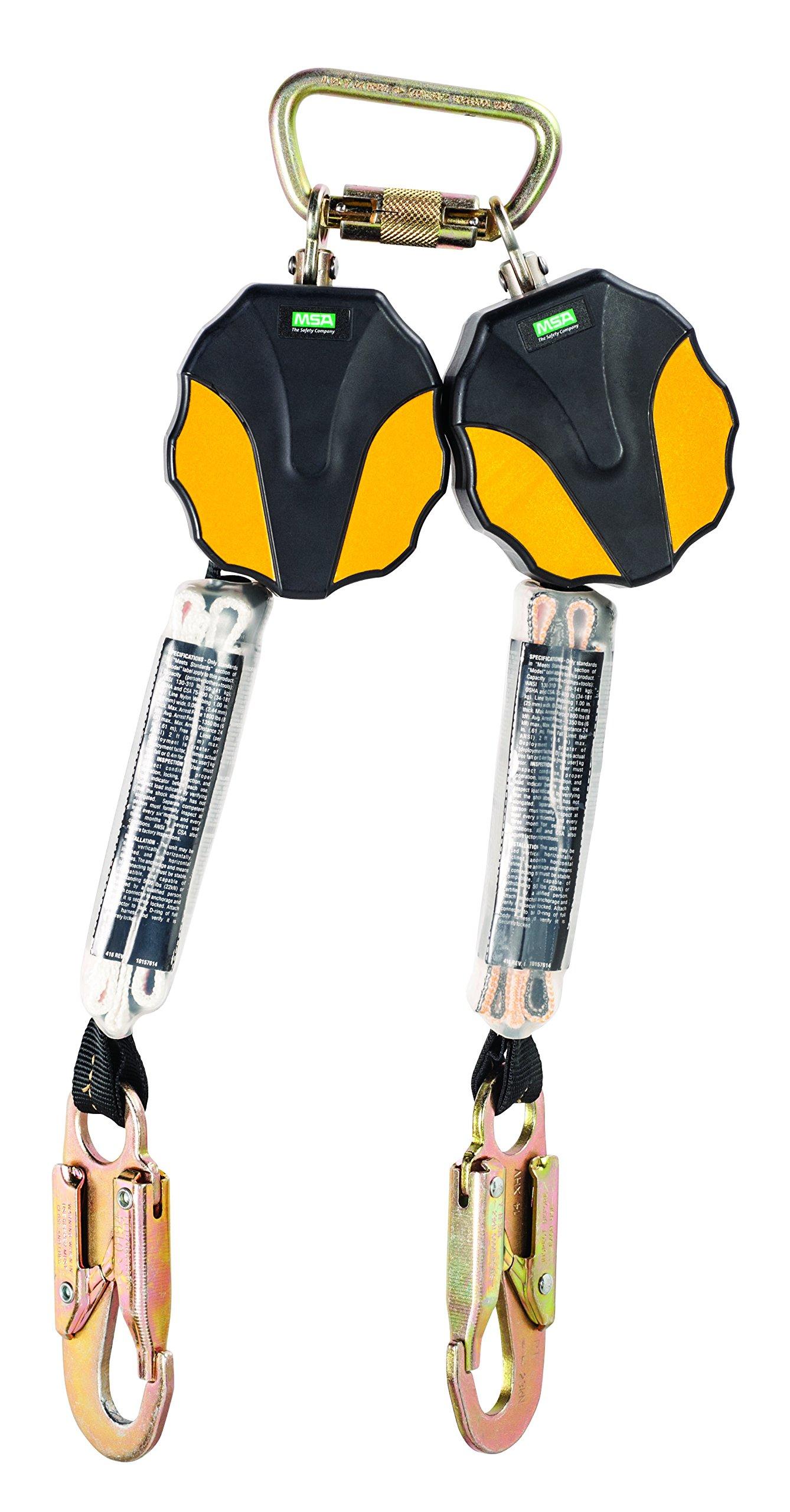 MSA 10157858 Workman Mini Twin-Leg ANSI-Certified Personal Fall Limiter with 36C Snap Hook, 6-Feet