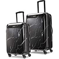 American Tourister Moonlight Hardside Expandable Luggage with Spinner Wheels, Black Marble, 2-Piece Set (21/24)