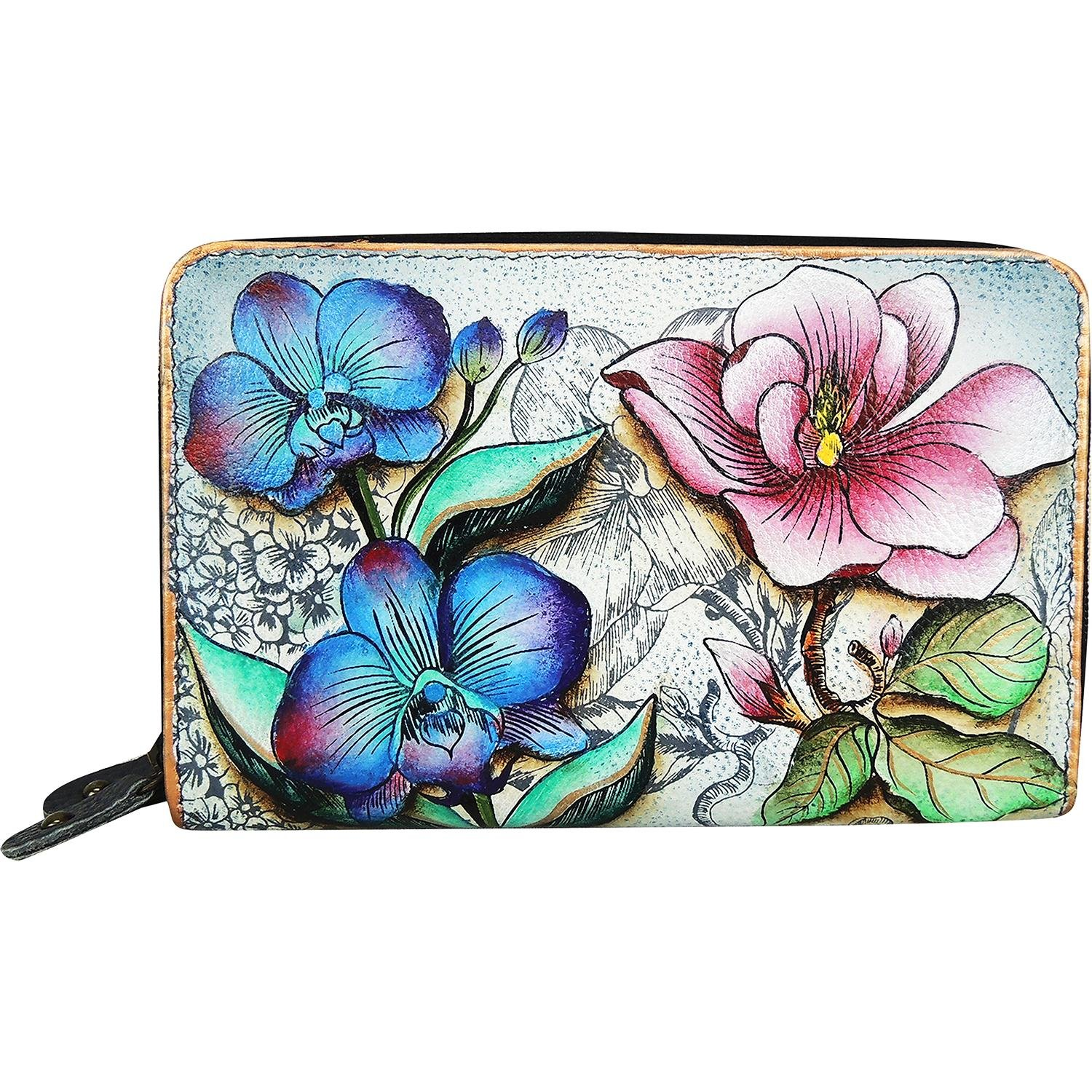 Anuschka Twin Zip Organizer Wallet FFTS, Floating Feathers, One Size