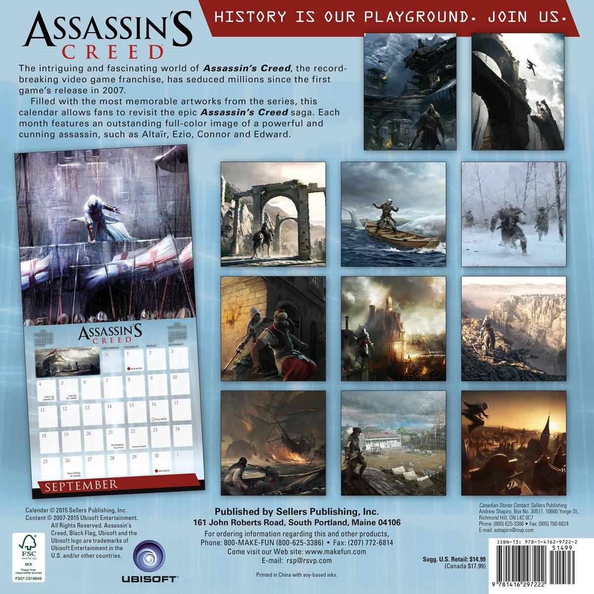 Calendario Ubisoft.Assassins Creed 2016 Wall Calendar Ubisoft Entertainment