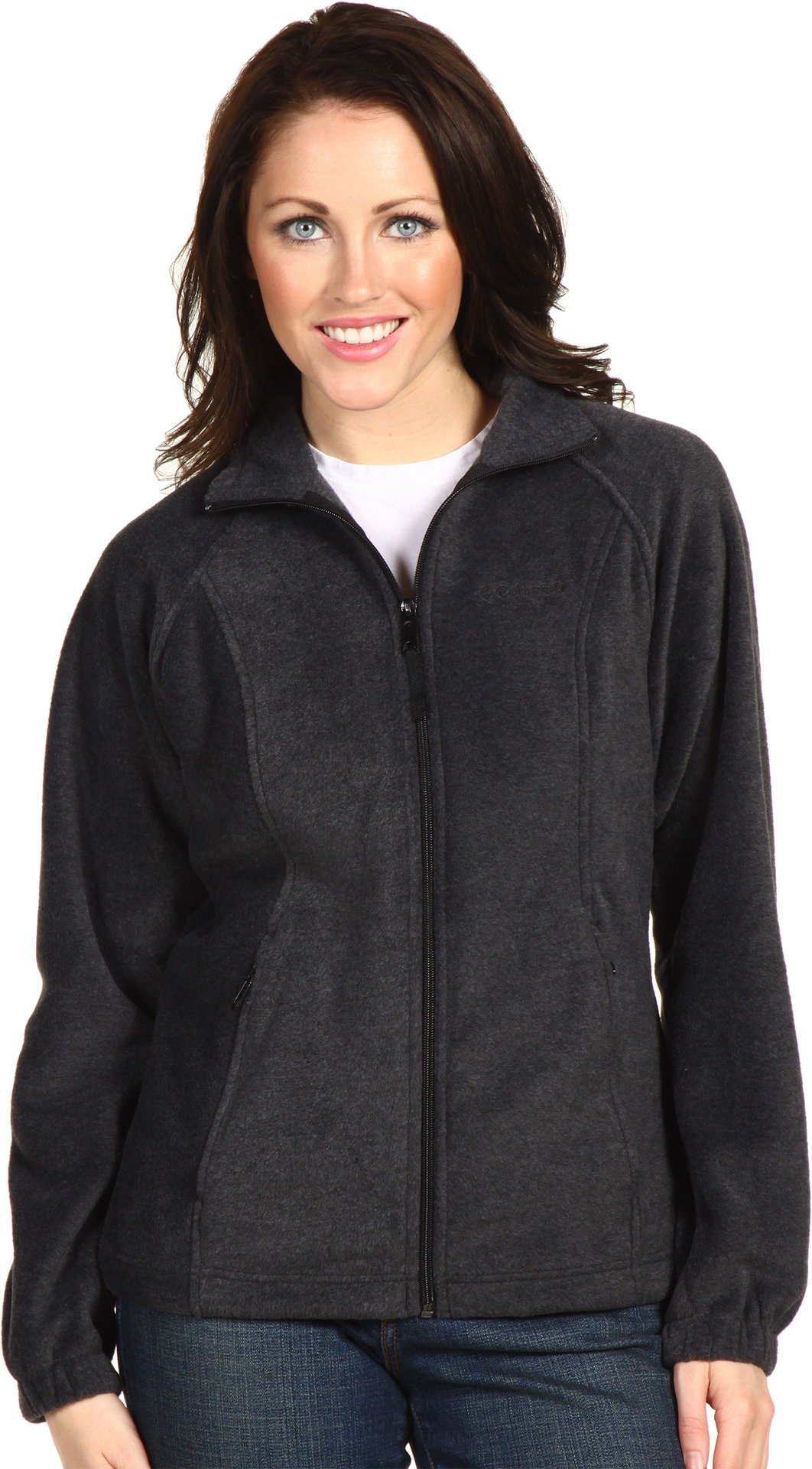 Columbia Women's Benton Springs Classic Fit Full Zip Soft Fleece Jacket, charcoal heather, L