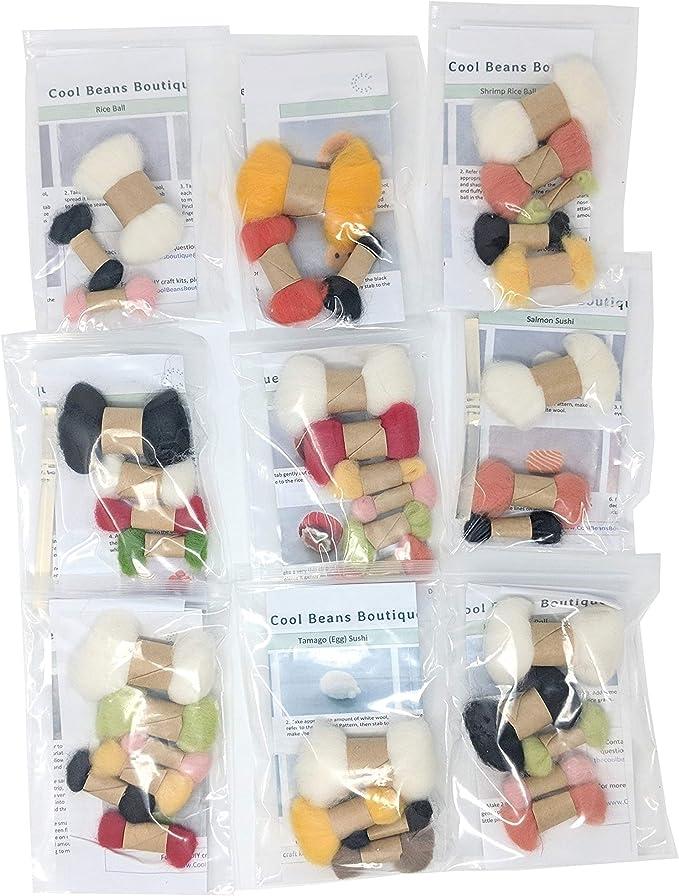 Sushi Bento and Tools Cool Beans Boutique Needle Felting DIY Kit with English Instructions WFKit-ZZ-Sushi9
