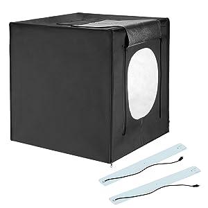 ESTUDIO FOTOGRÁFICO LED DE 24 PULGADAS - cuadrado perfecto en una caja con 4 fondos de color de calidad profesional