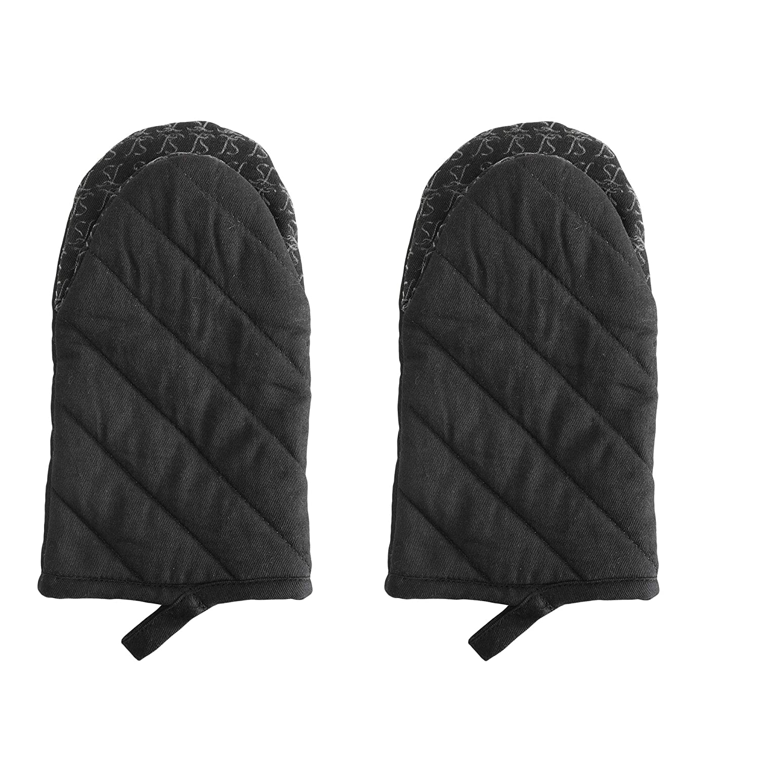 Oven Mitt, Solid Black Color Set Of 2. Heat Resistant Cotton Quilted Oven Mitt Silicone Printed, Non Slip Grip, Terry Lining, Used For cooking, BBQ, Baking, Grilling. Machine Washable.